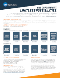 2018-19 NCAA International Initial-Eligibility Brochure - single page version (ONLINE ONLY)